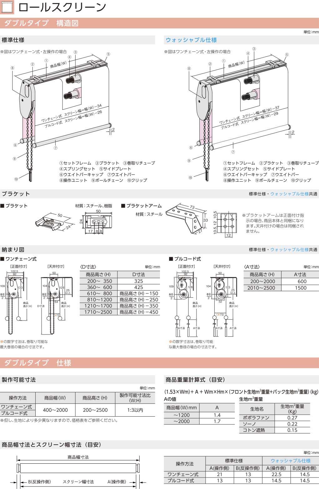 ニチベイ ロールスクリーン ダブルタイプ構造図 仕様
